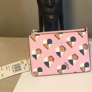 Pink Heart Coach I.D. Wallet with silver keychain